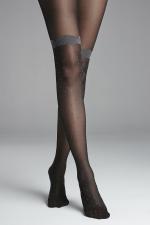 Melange Lace 30 DEN panty Zwart - Smoke Grey