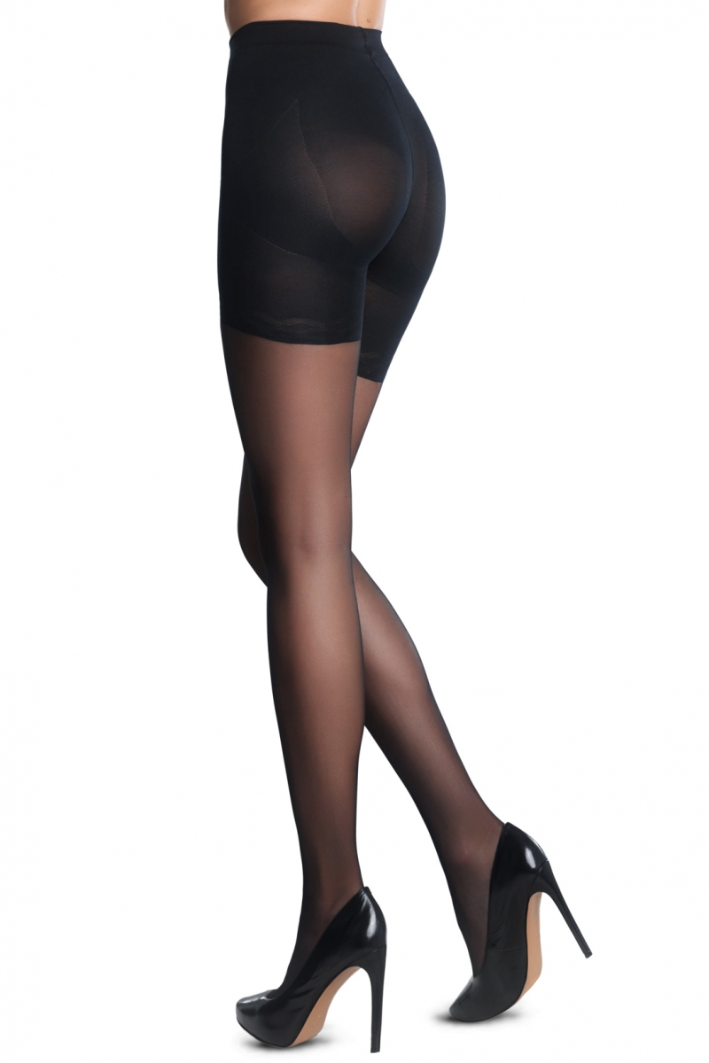 Pop up corset 20 DEN panty ZWART